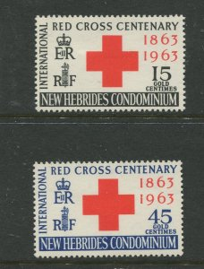 STAMP STATION PERTH New Hebrides #94-95 Red Cross Issue 1963 MLH