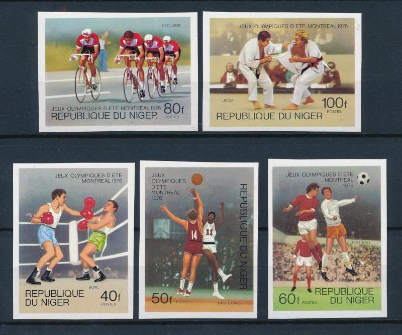 [55733] Niger 1976 Olympic games Cycling Judo Football Boxing Imperforated MNH
