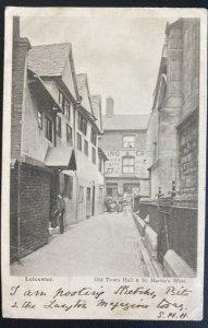 1904 Harborough England RPPC Postcard Cover To Morden Canada Leicester Town Hall