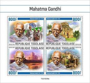 TOGO - 2021 - Mahatma Gandhi - Perf 4v Sheet - Mint Never Hinged