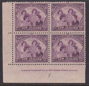 NEW ZEALAND 1946 Peace 2d plate block 1 - mint lightly hinged...............4514