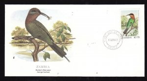 Flora & Fauna of the World #220b-Zambia-Birds-Boehm's Bee-eater-FDC with  single