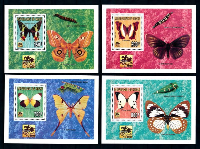 [76549] Niger 1996 World Jamboree Scouting Butterflies 4 Deluxe Sheets MNH
