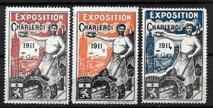 BELGIUM STAMPS, 1911 CHARLEROI EXPOSITION LABEL-CINDERELLA. MNH