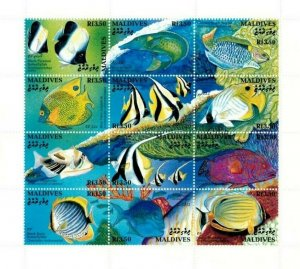 Maldives MNH S/S 1868 Reef Fish 12 Stamps