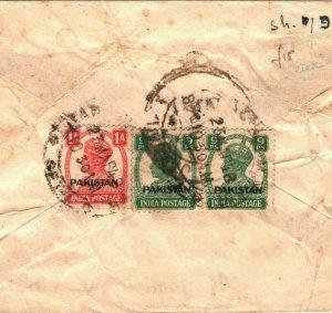 PAKISTAN Cover INDIA KGVI Overprints Karachi Air Mail Jamnagar 1948{samwells}B24