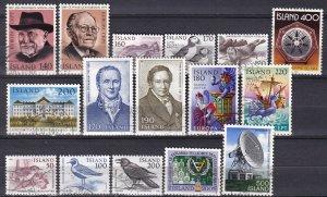 Iceland #528-9, 534-47 F-VF Used  CV $8.15  (Z6427)