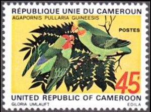Cameroun # 555 no gum ~ 45fr Red-faced Lovebirds