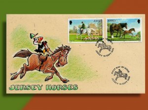 JERSEY HORSES • 1996 Handcolored FDC • Puffin Equestrian!