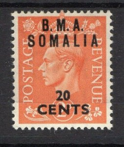 BMA Somalia 1950s Early Issue Fine Mint Hinged 20c. Surcharged Optd NW-14620