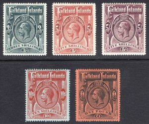 Falkland Is 1912 3s-£1 GV HighValues SG 66-69 Sc 36-40 LMM/MLH Cat£990($1,210)
