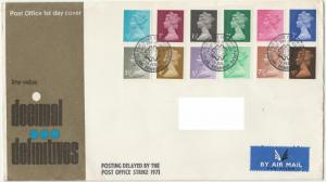GB 1971 QEII Machin Low Value Decimal Issue FDC (19 values) S1136