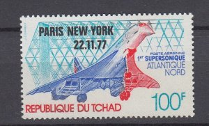 J29769, 1977 chad 1st flight concord set of 1 mnh #c227 airplane