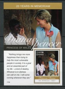 Ghana 2017 MNH Princess Diana of Wales in Africa 20th 1v S/S II Royalty Stamps