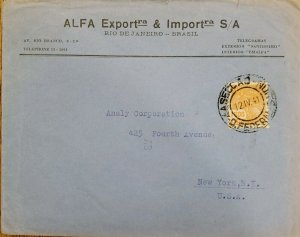 A) 1941, BRAZIL, TELEGRAMS, RIO DE JANEIRO, TO NEW YORK-UNITED STATES
