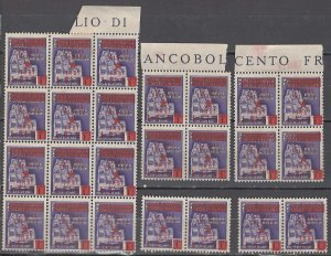 COLLECTION LOT OF #1113 TRIESTE STAMPWORLD # 9 *24 UNUSED NO GUM BLOCKS & PAIRS