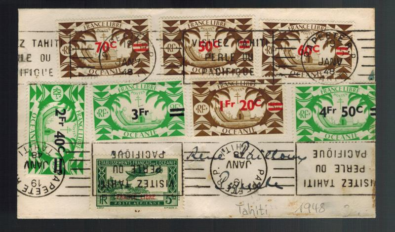 1948 Papeete Tahiti Cover to Overprints Free France
