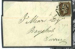 V52 1841 1d Red ex Black Plate IX (AG) State 2/Bagshot