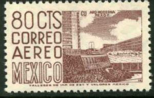 MEXICO C265c, 80c 1950 Def 6th Issue Fosforescent unglazed MINT, NH. VF.