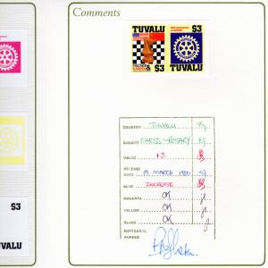 Tuvalu 1986 Sc#352 CHESS/ROTARY 7  PROOFS BOOKLET BEAUTIFUL ITEM !!!