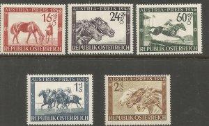 AUSTRIA  B179-B183  HINGED,  RACE HORSES