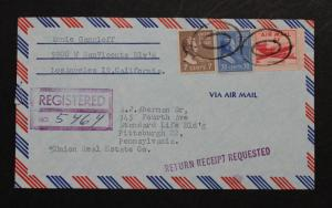 US Registered 1954 Air Mail Cover with 812 Excellent Centering  830 & C39