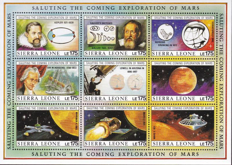 Sierra Leone 1990 Exploration of Mars Four Sheets of Nine. Space VF/NH