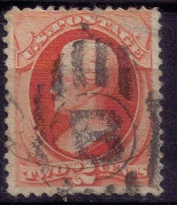 US SCOTT 178 USED  2 CENT VERMILION F-VF