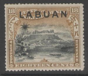 LABUAN SG99a 1897 18c BLACK & OLIVE-BISTRE p14½-15 MTD MINT