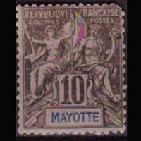 MAYOTTE 1892 - Scott# 5 Goddesa 10c LH short perf.