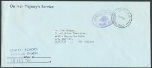 NORFOLK IS 1981 OHMS cover ex Central School to NZ.........................43309
