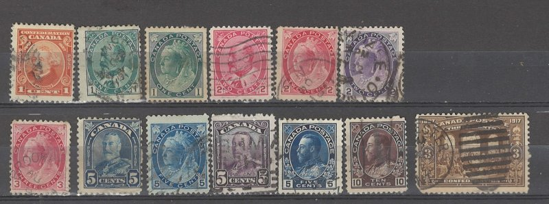 COLLECTION LOT # 5071 CANADA 13 STAMPS 1898+ CV+$20