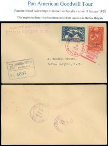 1928 AGENCIA POSTAL COLON PANAMA Cds, NY BANK C/C, #256 257 LINDBERGH OVERPRINT!