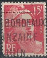 France 602 (used, Bordeaux postmark) 15fr Marianne, crim rose (1949)