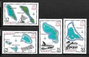 Kiribati 422-425: Kiribati Islands Maps, MH, VF