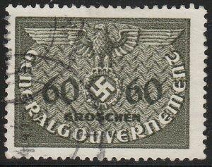 Stamp Germany Poland General Gov't Official Mi 11 Sc NO11 1940 WW2 Emblem Used