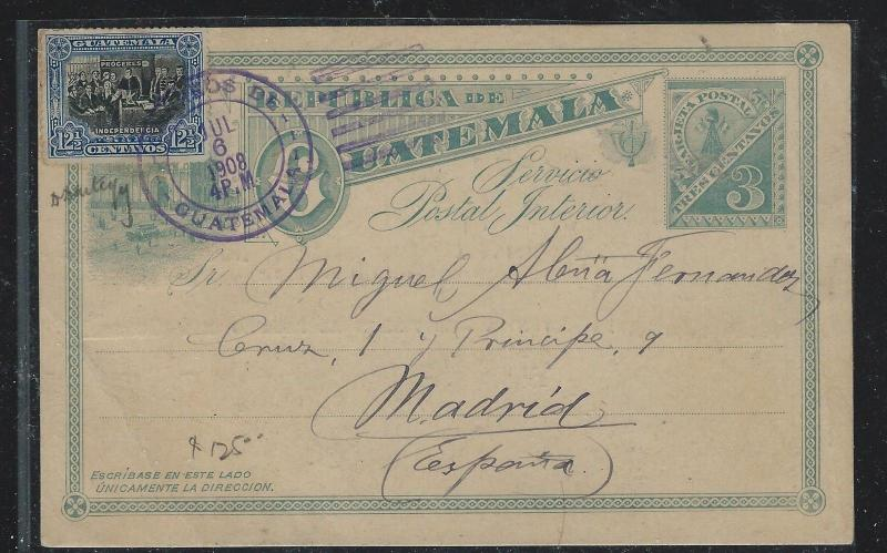 GUATEMALA (P2309B) 1908 3C PSC UPRATED 12 1/2C TO MADRID SPAIN