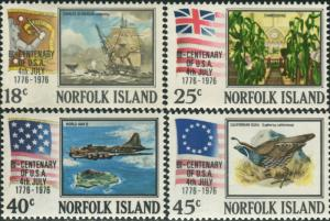 Norfolk Island 1976 SG172-175 American Revolution set MNH
