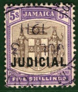 JAMAICA KEVII Revenue Stamp 5s JUDICIAL High Value (1908) Used 1911 CDS GRBLUE24