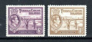 Turks and Caicos islands 1938-45 6d and 1s MH