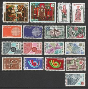 Andorra (Fr) 1966, 67, 70, 73, 74, 75, 76, 77, 78. Europa Sets MNH. Cat app £240