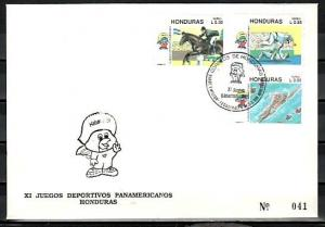 Honduras, Scott cat. C826-C828. Pan American Games issue. First Day Cover. ^