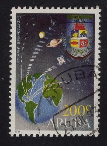 Aruba   #88  1993   used   express mail 200c