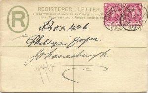 1897 CAPE OF GOOD HOPE 4d Registered Postal Stationery Envelope KIMBERLEY