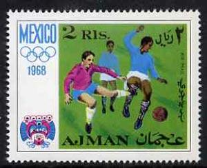 Ajman 1968 Football 2R from Mexico Olympics perf set unmo...