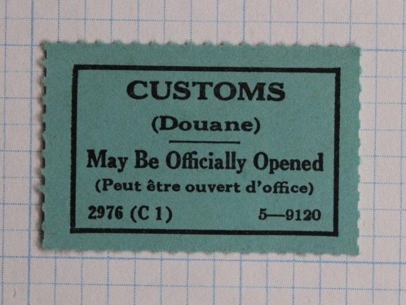 Customs Douane may be officially opened 2976 C1 5-9120 Label seal Form GPO POD?