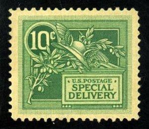 #E7 – 1908 DL Wmrk 10c green. MLH XF-Suberb!