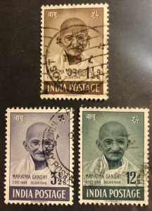 India Scott #203-205 VF Mahatma Ghandhi Used Cat. $17.50