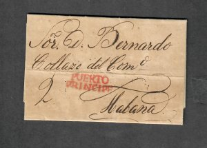 Rare 1830 Stampless Cuba Cover Puerto Principe Red H/S Cancel Habana Letter
