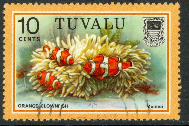 TUVALU 1979 10c Orange Clownfish Marine Life Issue Sc 102 VFU